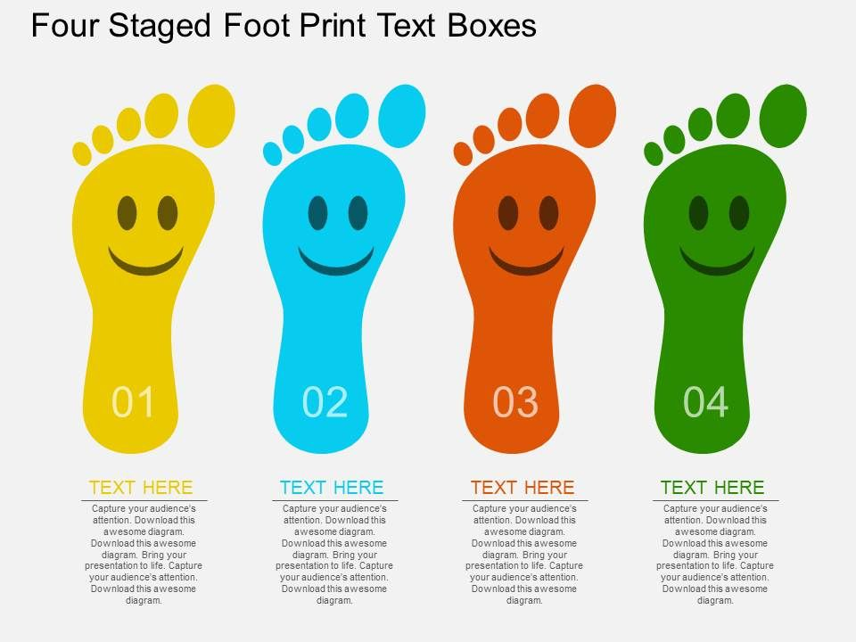 on_four_staged_foot_print_text_boxes_flat_powerpoint_design_Slide01