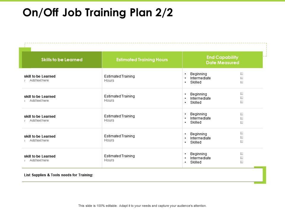 On Off Job Training Plan Training Ppt Powerpoint Presentation Themes