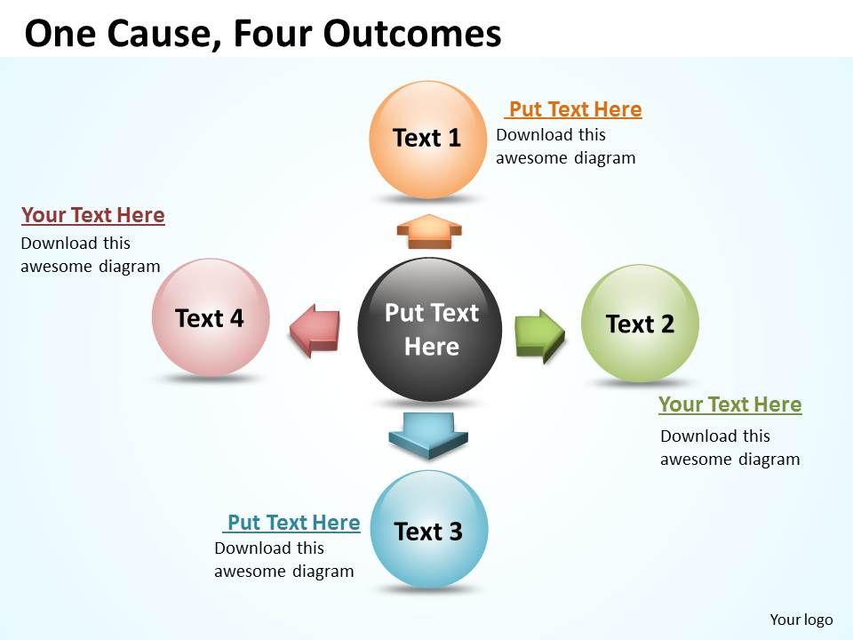 one cause four outcomes ppt slides presentation diagrams templates, Powerpoint templates
