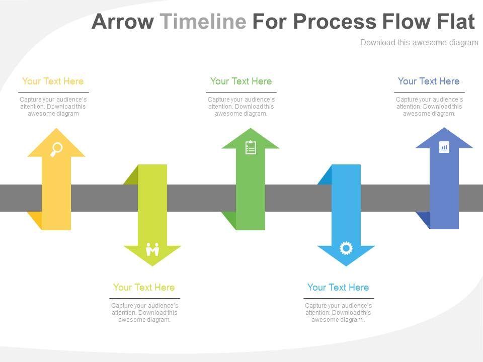 One Five Arrows Timeline For Process Flow Flat Powerpoint