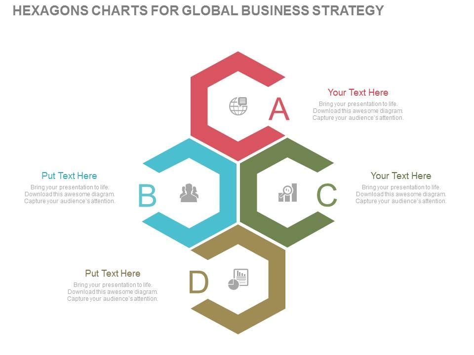 one four hexagons charts for global business strategy flat