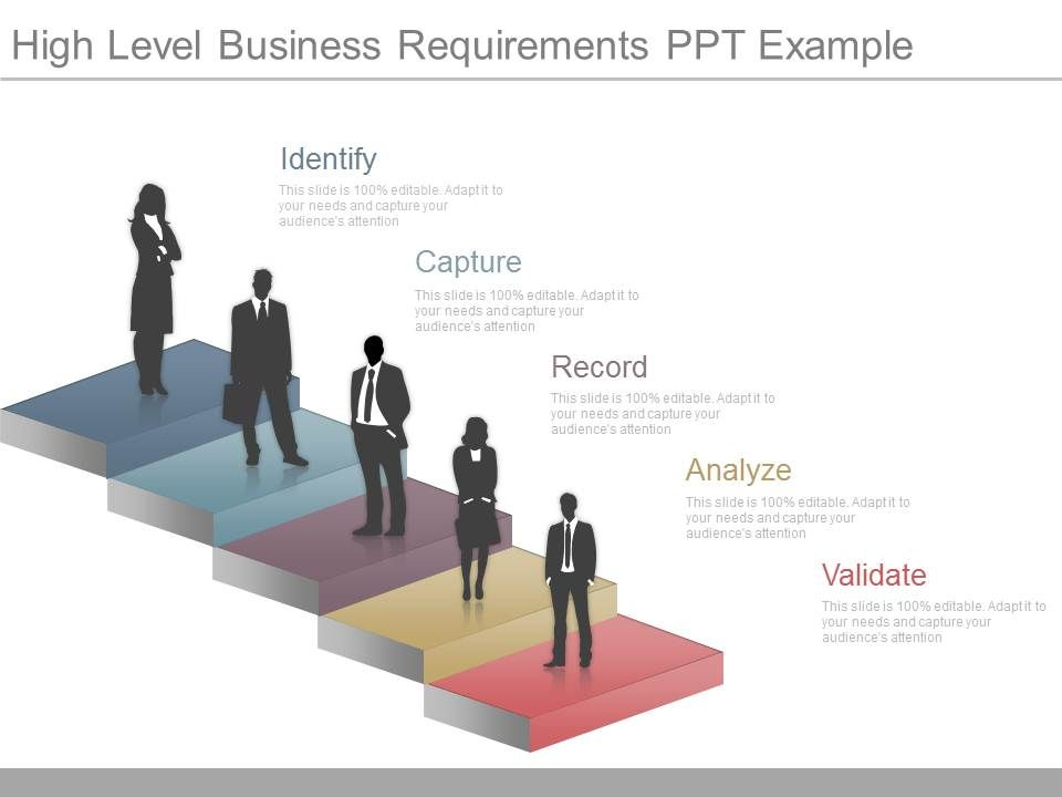 Professional management slides showing one high level for High level business requirements document template