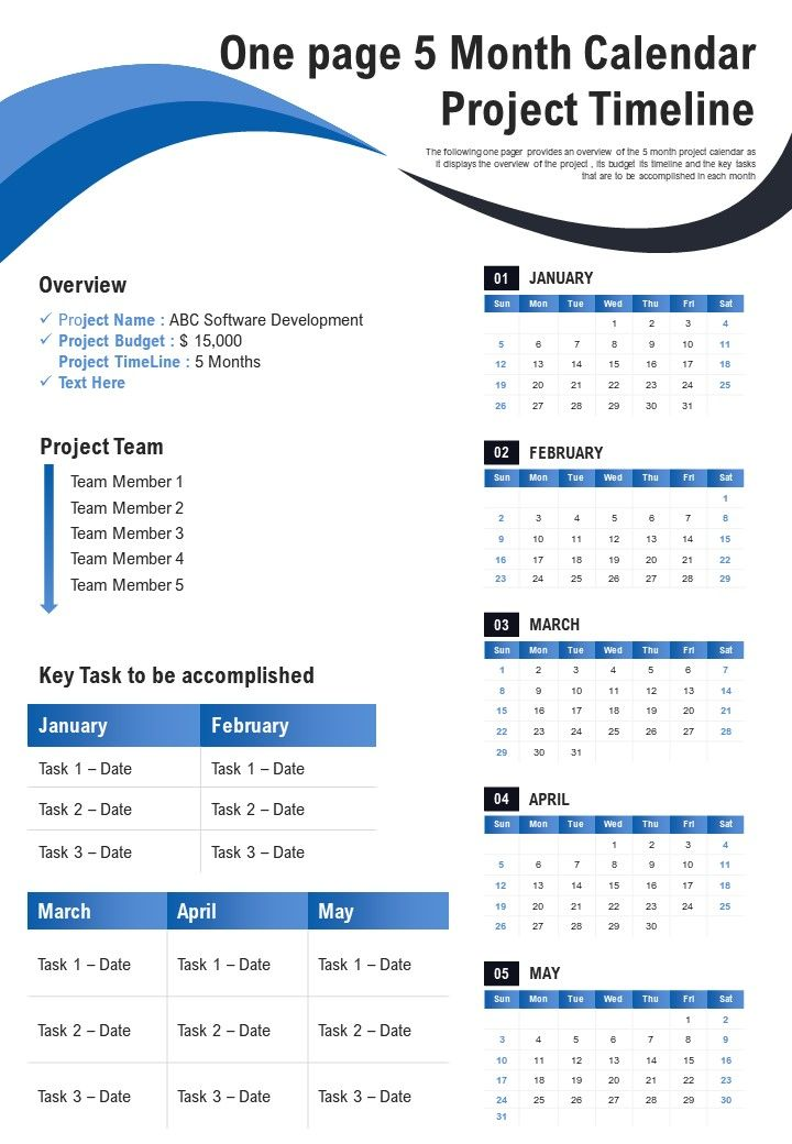 One Page 5 Month Calendar Project Timeline Presentation Report Infographic PPT PDF Document