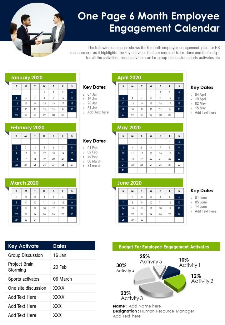 One Page 6 Month Employee Engagement Calendar Presentation Report Infographic PPT PDF Document