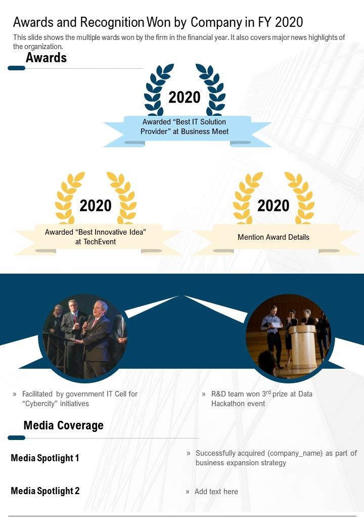 One Page Awards And Recognition Won By Company In FY 2020 Template 371 Infographic PPT PDF Document