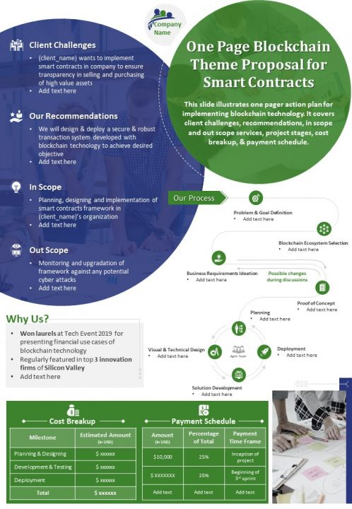 One Page Blockchain Theme Proposal For Smart Contracts Presentation Report Infographic PPT PDF Document