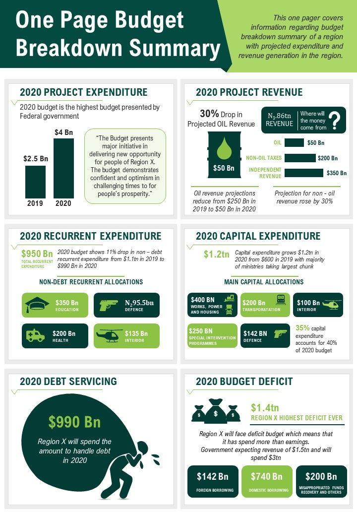 One Page Budget Breakdown Summary Presentation Report Infographic PPT PDF Document