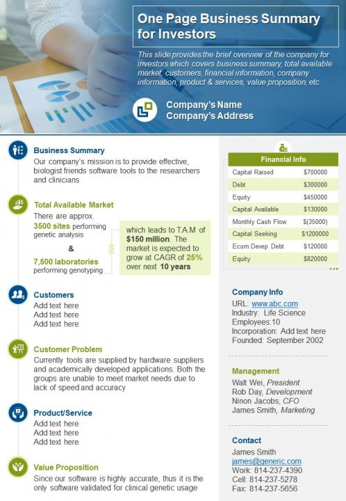 One Page Business Summary For Investors Document PPT PDF Doc Printable