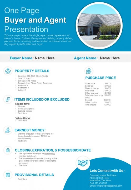 One Page Buyer And Agent Presentation Report Infographic PPT PDF Document