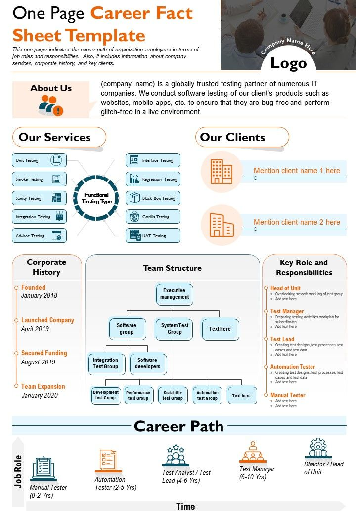 One Page Career Fact Sheet Template Presentation Report Infographic PPT PDF Document