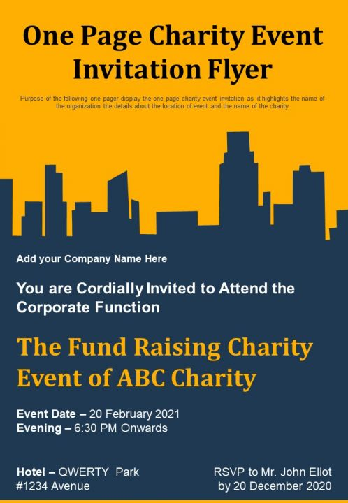 One Page Charity Event Invitation Flyer Presentation Report Infographic PPT PDF Document