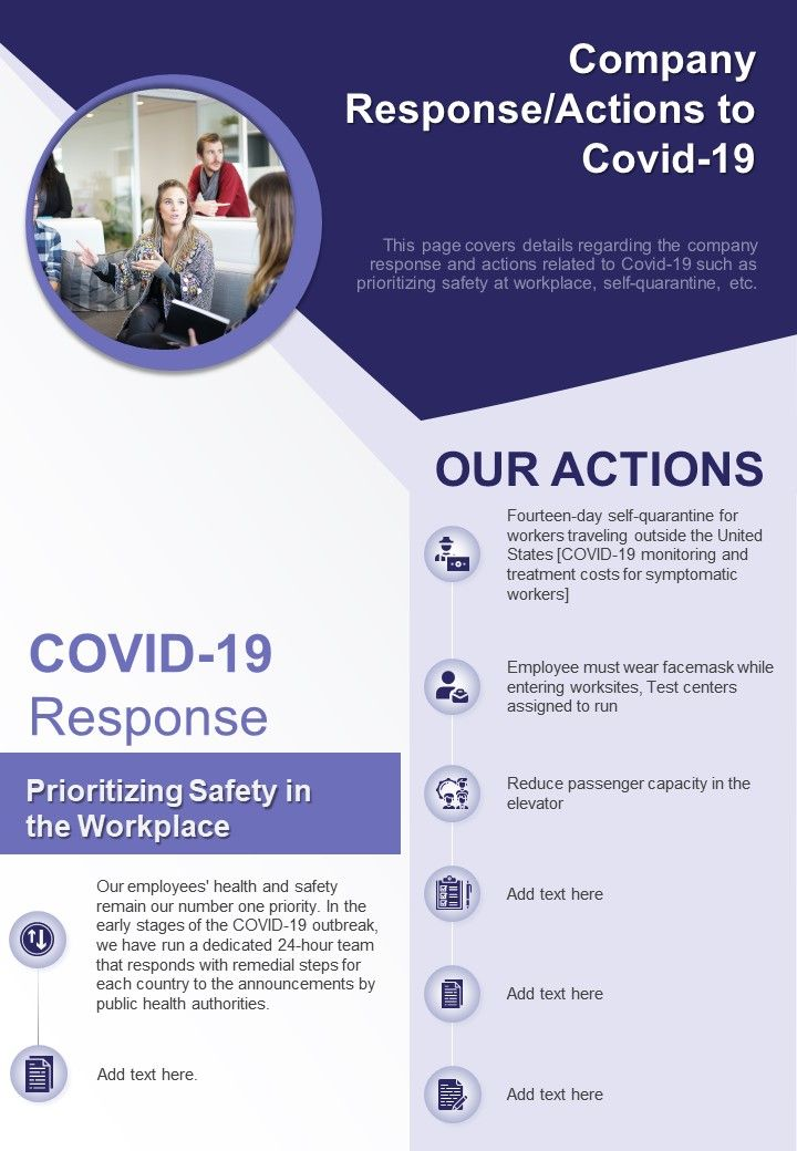 One Page Company Response Actions To COVID 19 Presentation Report Infographic PPT PDF Document