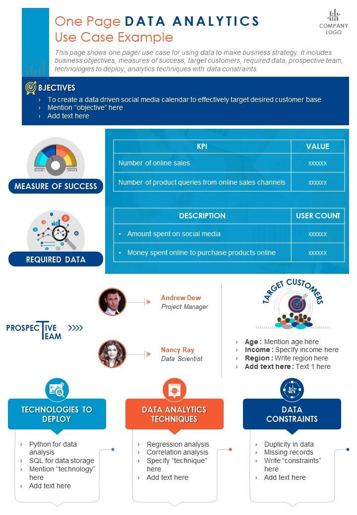 One Page Data Analytics Use Case Example Presentation Report Infographic PPT PDF Document