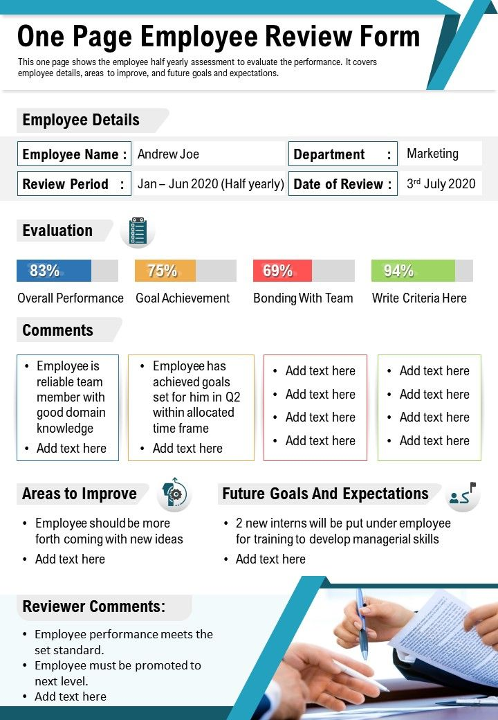 One Page Employee Review Form Presentation Report Infographic PPT PDF Document
