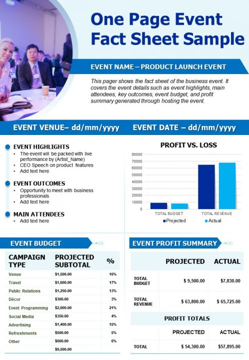One Page Event Fact Sheet Sample Presentation Report Infographic Ppt Pdf Document