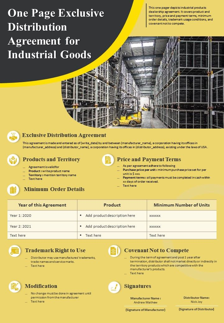 One Page Exclusive Distribution Agreement For Industrial Goods Presentation Report Infographic PPT PDF Document