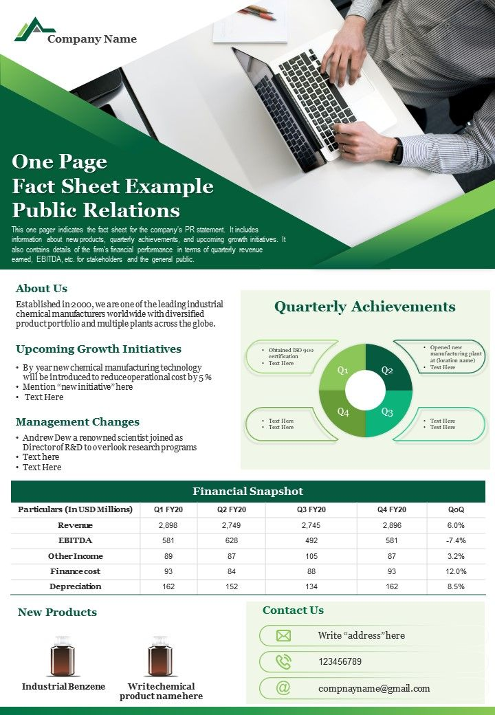 One Page Fact Sheet Example Public Relations Presentation Report PPT PDF Document
