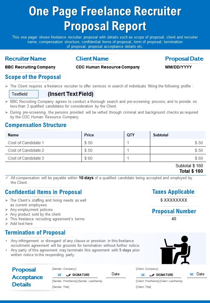 One Page Freelance Recruiter Proposal Report Presentation Report Infographic PPT PDF Document