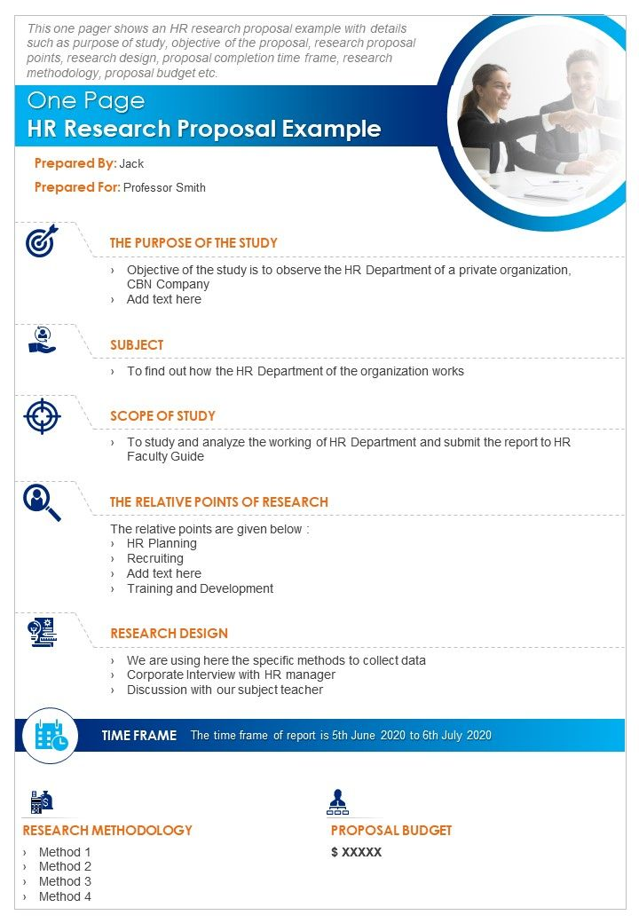 One Page HR Research Proposal Example Presentation Report Infographic PPT PDF Document