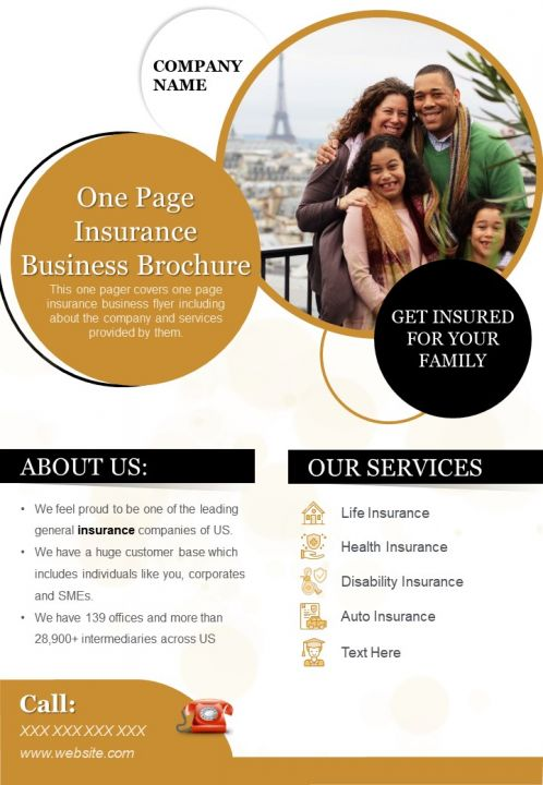 One Page Insurance Business Brochure Presentation Report Infographic PPT PDF Document