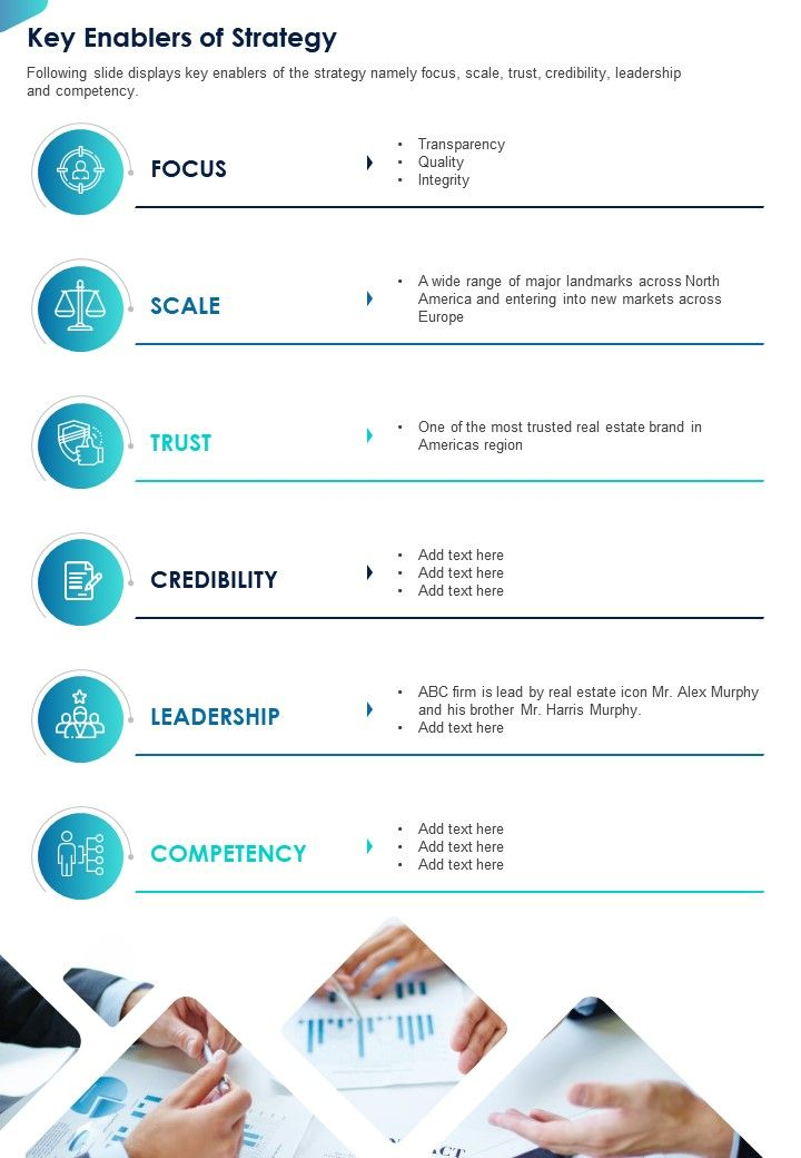 One Page Key Enablers Of Strategy Presentation Report Infographic PPT PDF Document