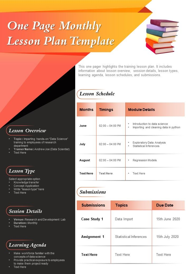 One Page Monthly Lesson Plan Template Presentation Report Infographic PPT PDF Document