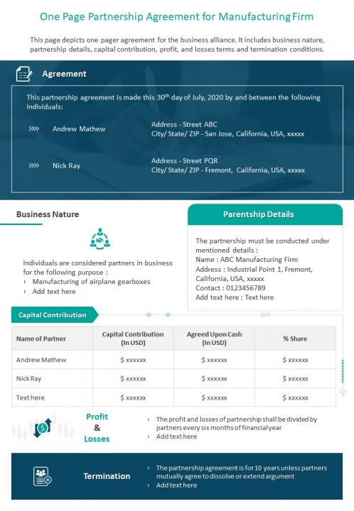 One Page Partnership Agreement For Manufacturing Firm Presentation Report Infographic PPT PDF Document