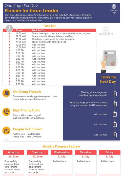 One Page Per Day Planner For Team Leader Presentation Report Infographic PPT PDF Document
