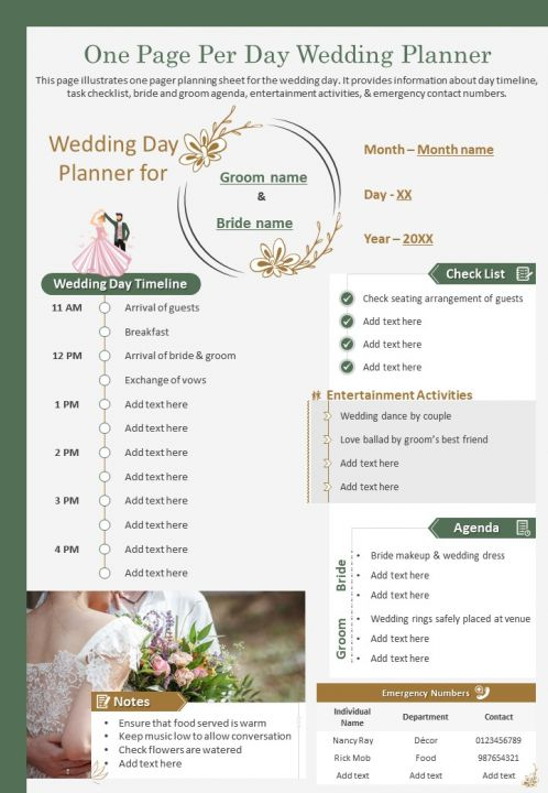 One Page Per Day Wedding Planner Presentation Report Infographic PPT PDF Document
