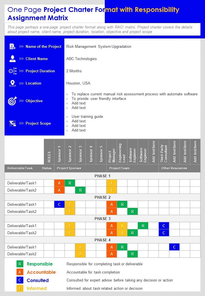 One Page Project Charter Format With Responsibility Assignment Matrix Report Infographic PPT PDF Document