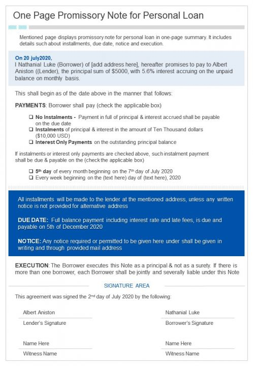 One Page Promissory Note For Personal Loan Presentation Report Infographic PPT PDF Document