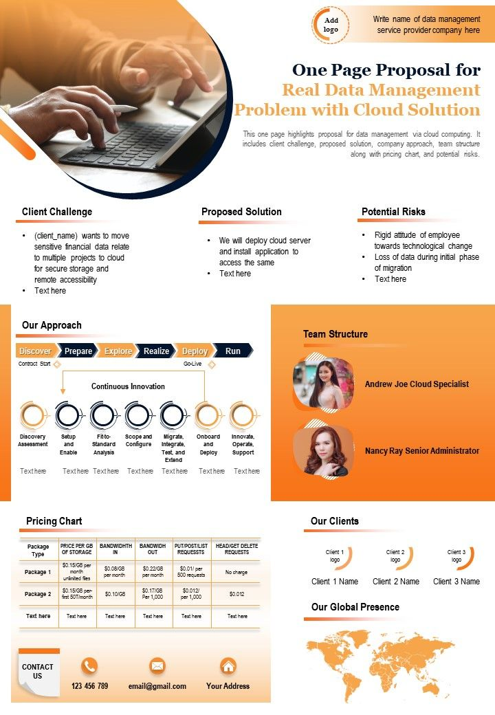One Page Proposal For Real Data Management Problem With Cloud Solution Report Infographic PPT PDF Document