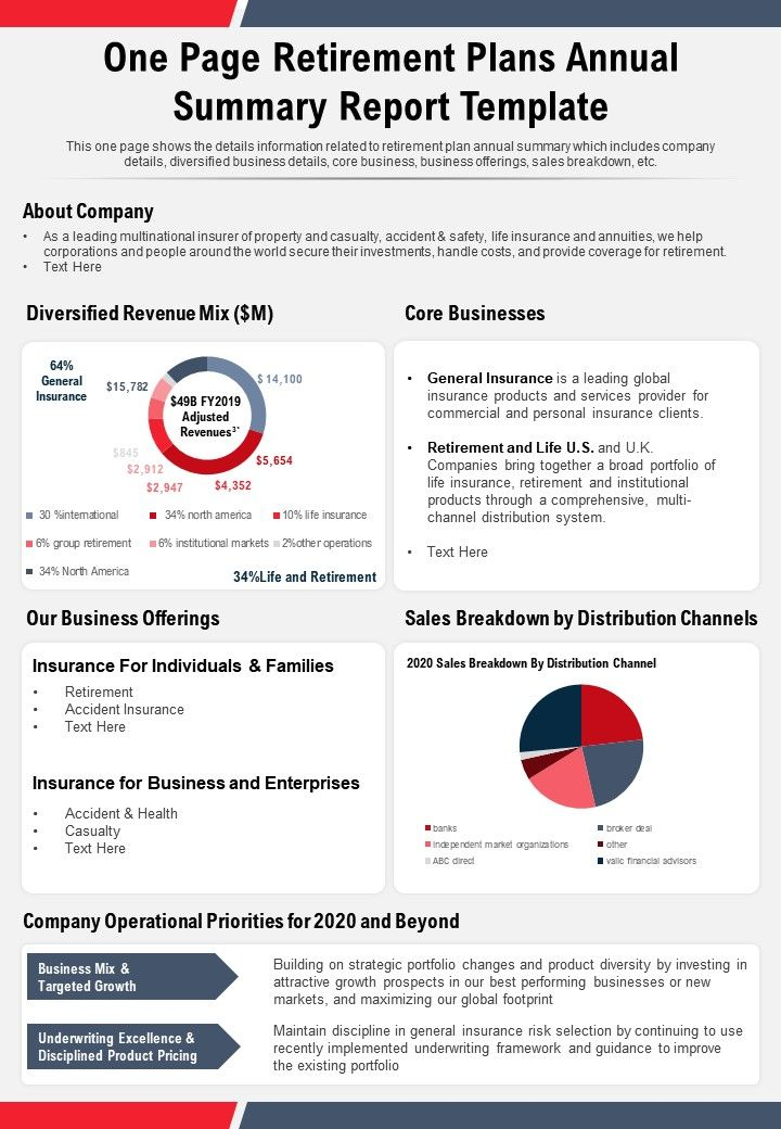 One Page Retirement Plans Annual Summary Report Template Presentation Report Infographic PPT PDF Document
