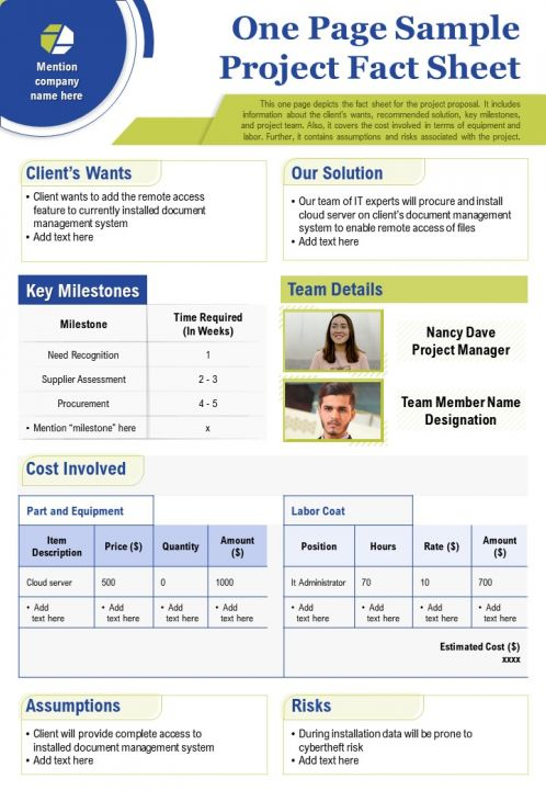 One Page Sample Project Fact Sheet Presentation Report Infographic PPT PDF Document