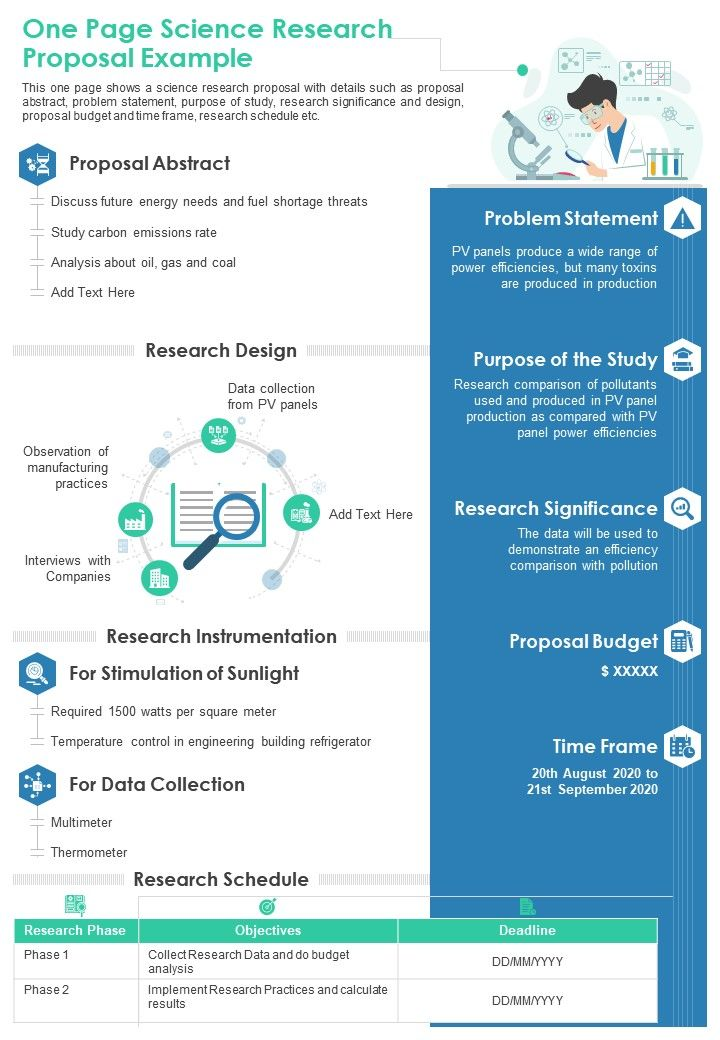 One Page Science Research Proposal Example Presentation Report Infographic PPT PDF Document
