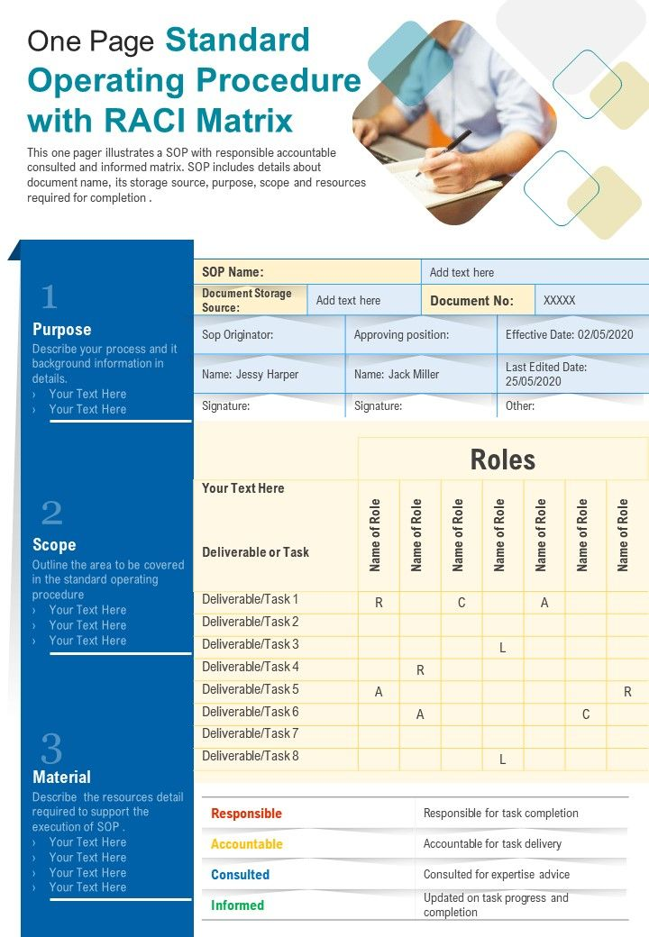 One Page Standard Operating Procedure With RACI Matrix PPT PDF Document