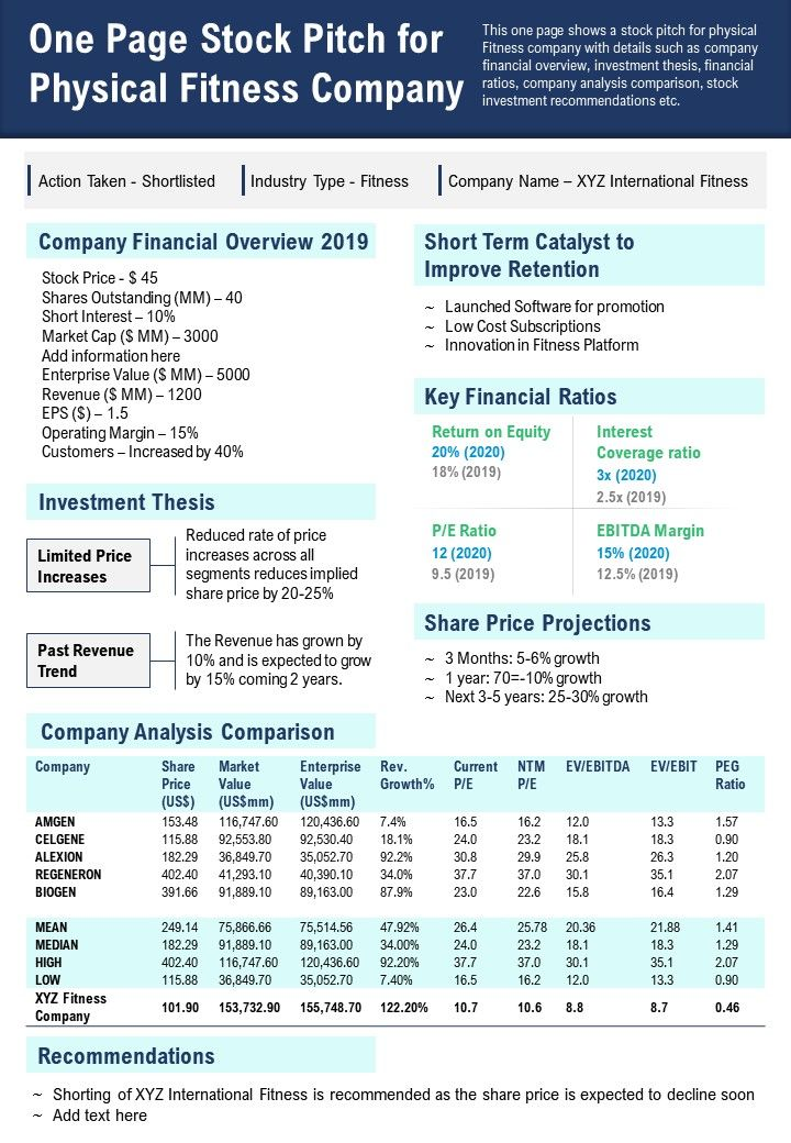 One Page Stock Pitch For Physical Fitness Company Presentation Report Infographic PPT PDF Document