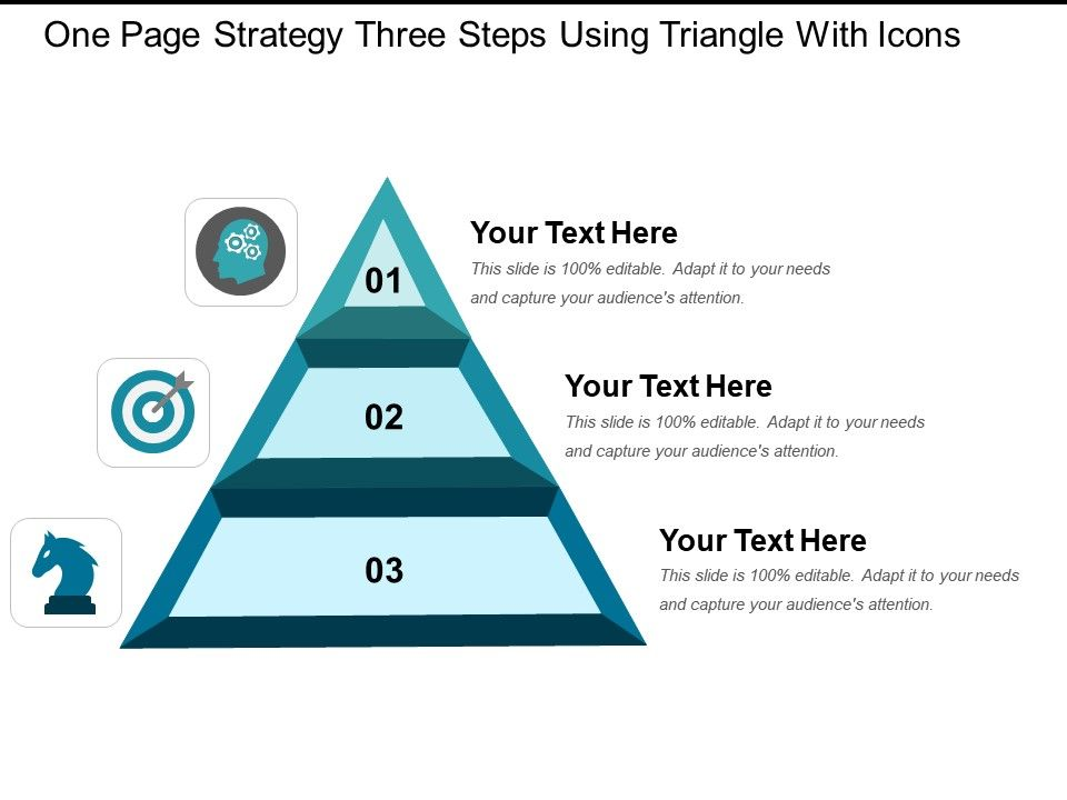 one_page_strategy_three_steps_using_triangle_with_icons_Slide01