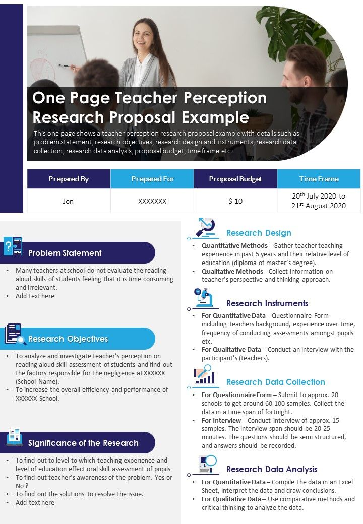 One Page Teacher Perception Research Proposal Example Presentation Report Infographic PPT PDF Document