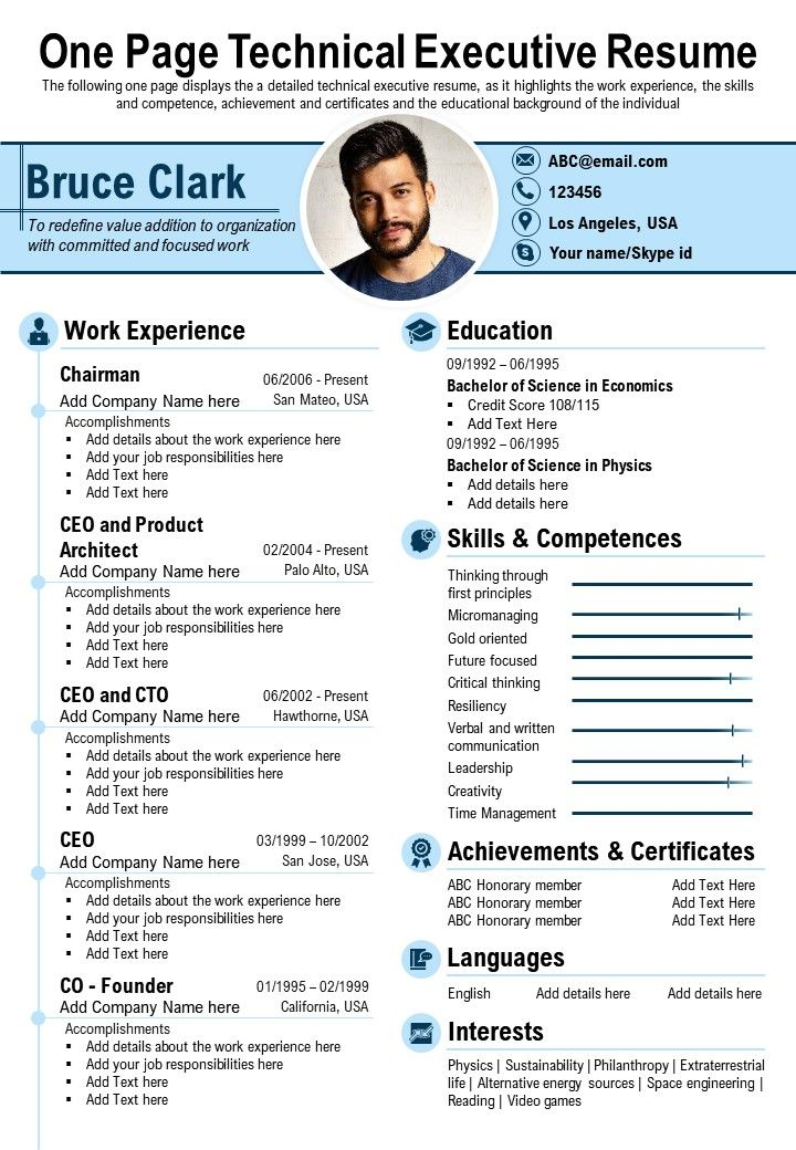 One Page Technical Executive Resume Presentation Report Infographic PPT PDF Document