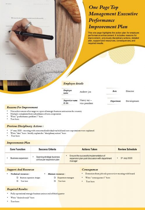 One Page Top Management Executive Performance Improvement Plan Presentation Report Infographic PPT PDF Document