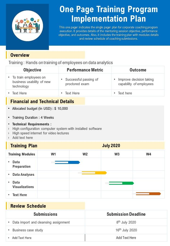 One Page Training Program Implementation Plan Presentation Report Infographic PPT PDF Document
