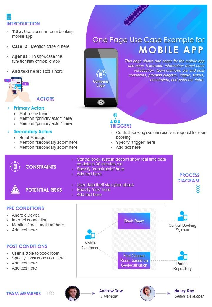 One Page Use Case Example For Mobile App Presentation Report Infographic PPT PDF Document