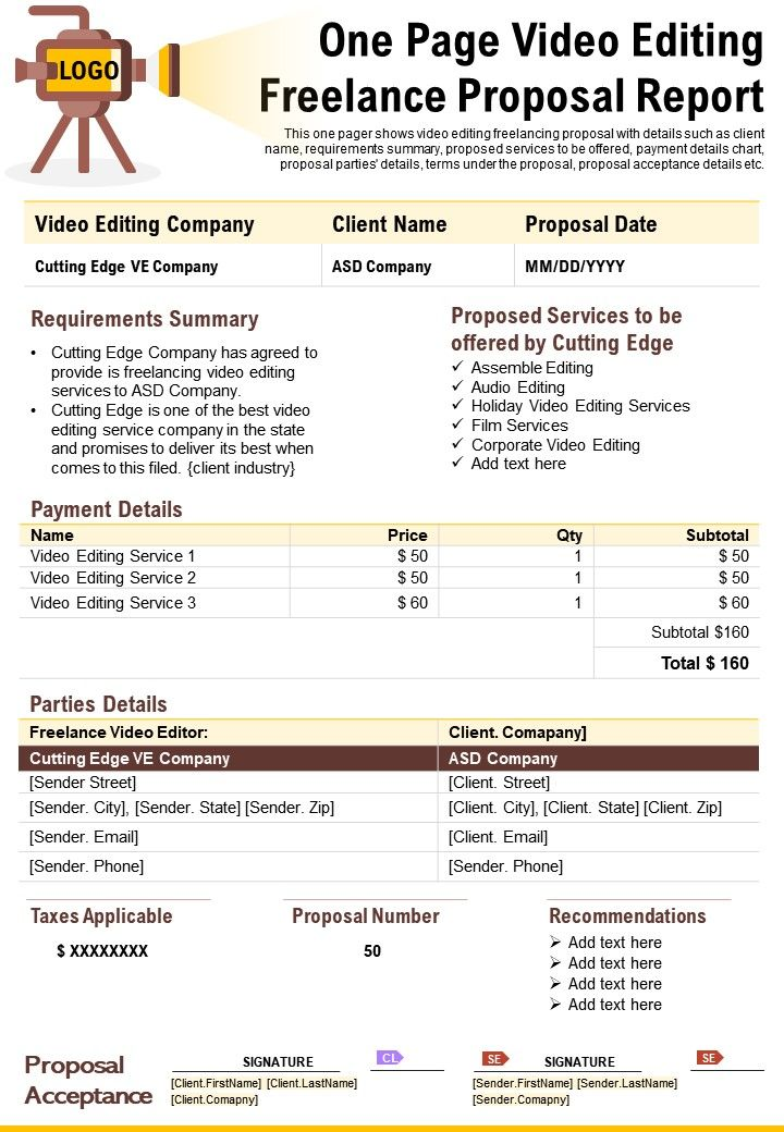 One Page Video Editing Freelance Proposal Report Presentation Report Infographic PPT PDF Document