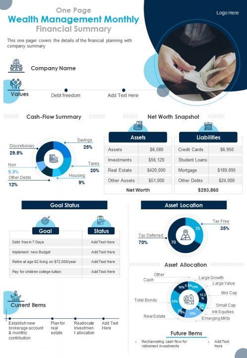 One Page Wealth Management Monthly Financial Summary Presentation Report PPT PDF Document