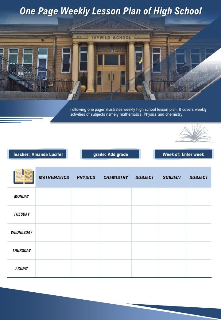 One Page Weekly Lesson Plan Of High School Presentation Report Infographic PPT PDF Document