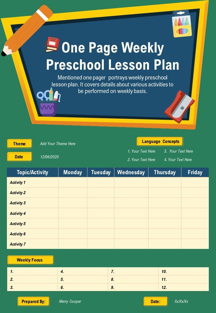 One Page Weekly Preschool Lesson Plan Presentation Report Infographic PPT PDF Document