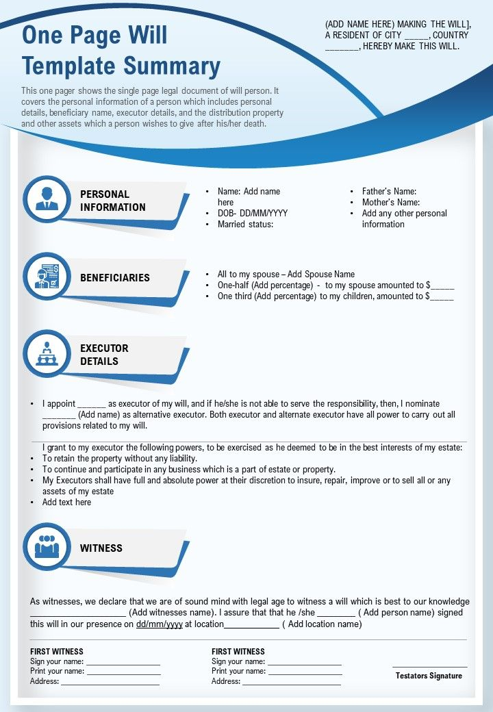 One Page Will Template Summary Presentation Report Infographic PPT PDF Document