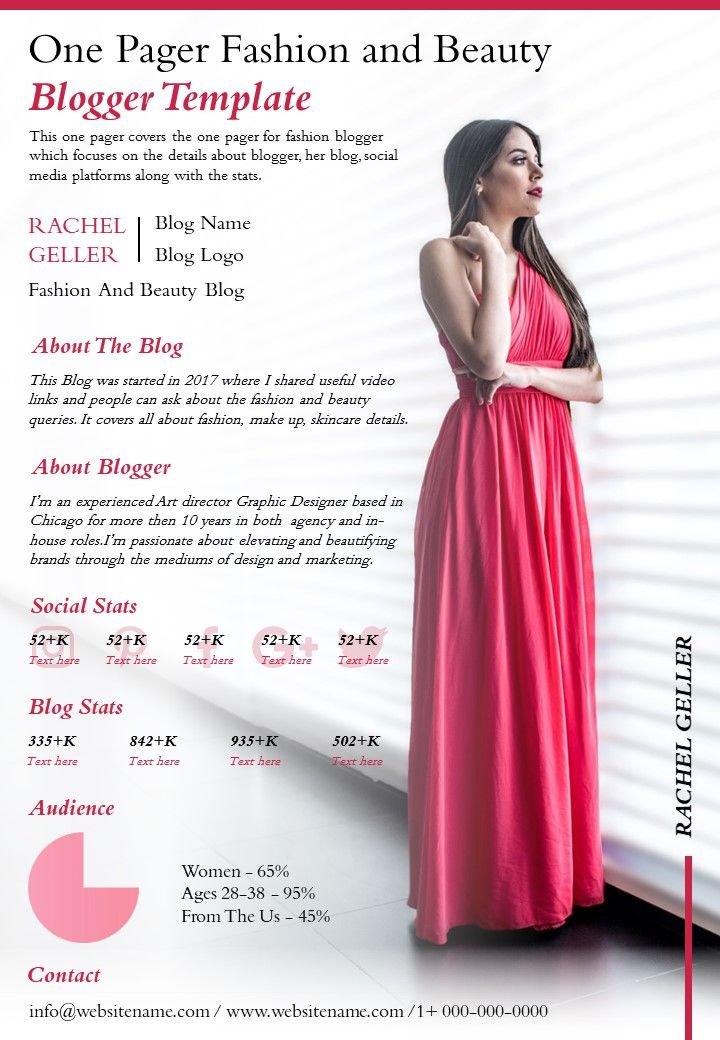 One Pager Fashion And Beauty Blogger Template Presentation Report Infographic Ppt Pdf Document Powerpoint Slides Diagrams Themes For Ppt Presentations Graphic Ideas