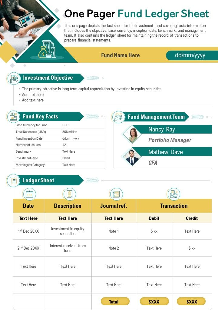 One Pager Fund Ledger Sheet Presentation Report Infographic PPT PDF Document